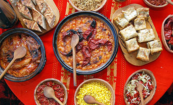 Table of traditional Bulgarian Food