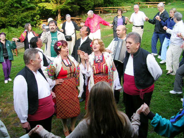 Folk dancing at our picnic in Bansko, Bulgaria